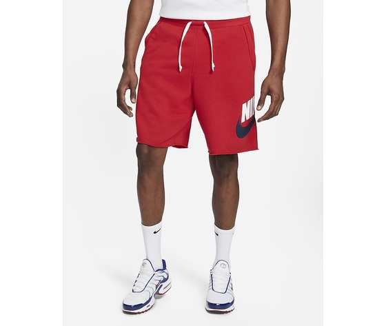 Pantaloncino uomo rosso nike shorts in french terry nike sportswear alumni art. ar2375 659 4