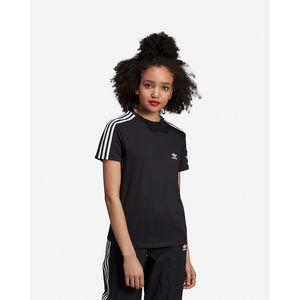 T-Shirt Donna Nera Adidas 3 Stripes White Lock Up W art. ED7530