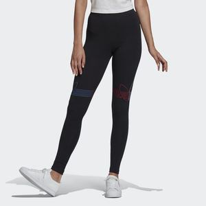 Leggings Donna Nero Adidas Originals Loungewear Adicolor Tricolor art. GN2867