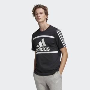 T-shirt Uomo Nera Girocollo Adidas Essentials Logo Colorblock art. GK8912