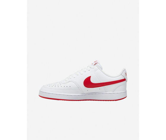 Scarpe uomo nike court vision low bianche swoosh rosso sneakers basse pelle art. cd5463 102 %283%29