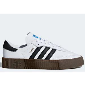 Adidas Sambarose Bianco Strisce nere Suola Gum W Platform  art. AQ1134