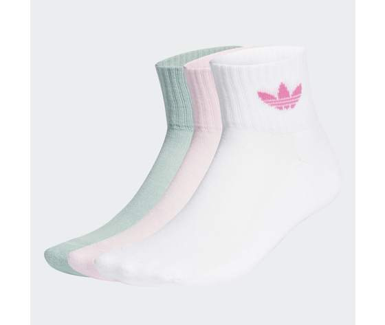Calze adidas rosa verde bianco multicolor donna mid cut crew socks 3 pairs white gn3084 03 standard
