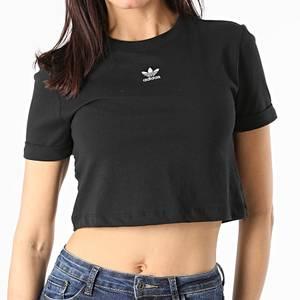 Top Adidas Nero Donna Sleeve Crop Maniche con Risvolto Maglietta corta donna Art. GN2802