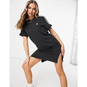 Vestito Donna Adidas Nero con strisce bianche Maniche Risvolto Roll-up Adicolor art. GN2777
