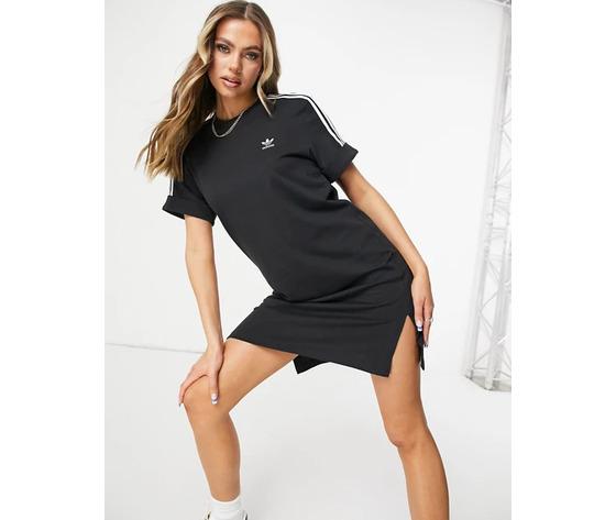 Vestito adidas nero con strisce bianche maniche risvolto art. gn2777 %281%29