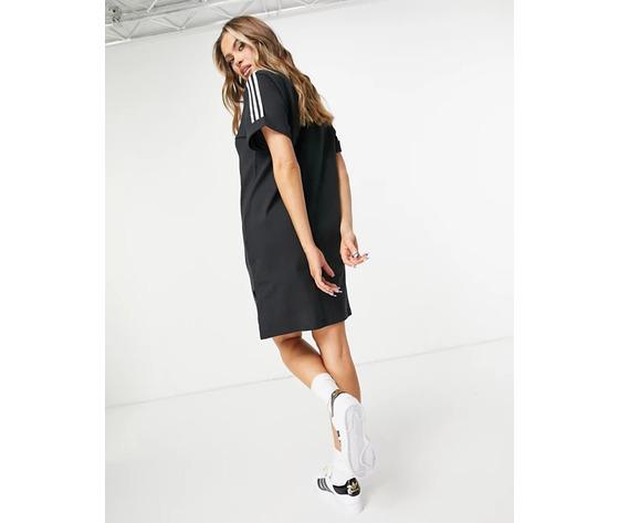Vestito adidas nero con strisce bianche maniche risvolto art. gn2777 %284%29