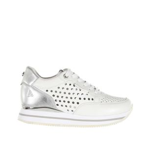 Apepazza Sneakers Donna Pelle bianco traforato Argento art. S0RSD03/LEA