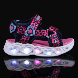Sandaletti Skechers da Bambina Rosa e Blu con Strappi e sul fondo MultiLuci Art 302090N HPBL