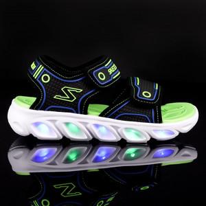 Sandaletti Skechers da Bambino Blu e Verde con Strappi e sul fondo MultiLuci Art. 90522N BBLM