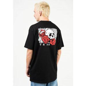 T-shirt Nera Vans Roses Stampa Rose sul retro cotone 100% girogola unisex art. VN0A54CVBLK