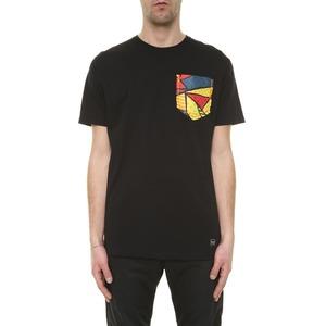 T-shirt Nera con taschino multicolor e stampa Pugno sul retro BL.11 Nero cotone 100% art. 13P21ITACA