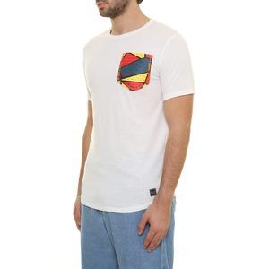 T-shirt bianca con taschino multicolor e stampa Pugno sul retro BL.11 bianco cotone 100% art. 13P21ITACA