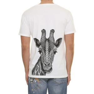 T-shirt Bianca Con taschino e stampa Giraffa sul retro BL.11 Bianca latte cotone 100% art. 31P21SAFARI24