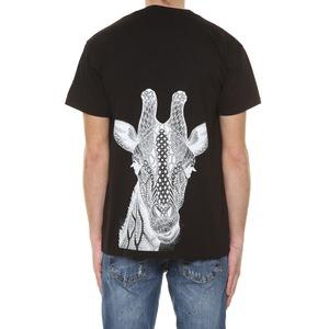 T-shirt Nera Con taschino e stampa Giraffa sul retro BL.11 Nero cotone 100% art. 31P21SAFARI24