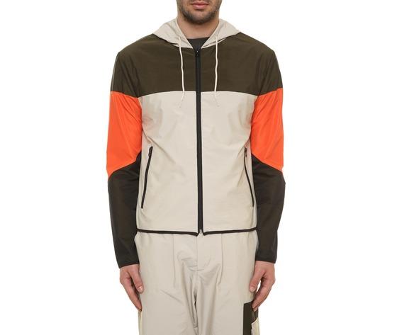 Giubbino uomo con cappuccio tecnico block eleven beige  militare  arancio interno in cotone art. 28p21blny018 %281%29