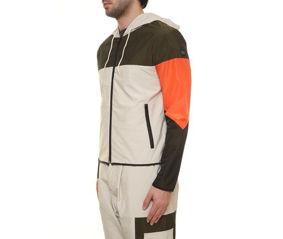 Giubbino uomo con cappuccio tecnico block eleven beige  militare  arancio interno in cotone art. 28p21blny018 %282%29