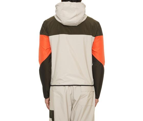 Giubbino uomo con cappuccio tecnico block eleven beige  militare  arancio interno in cotone art. 28p21blny018 %283%29