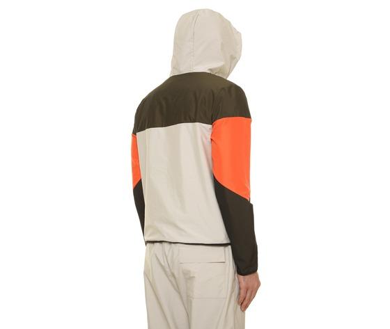 Giubbino uomo con cappuccio tecnico block eleven beige  militare  arancio interno in cotone art. 28p21blny018 %284%29