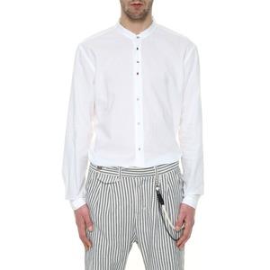 Camicia Uomo Bianca con Collo alla Coreana Cotone Puro Bottoni automatici colorati Taglio vivo BL.11 art. 16P21211340002