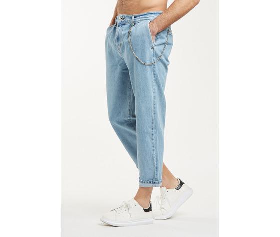 Jeans uomo cropped chiaro con tasche america cavallo basso fondo stretto berna italia art. 210185 %282%29