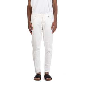 Jeans Uomo Slim Fit  Denim Bianco in Cotone I'mBrian Made in Italy art. ALANCL1608