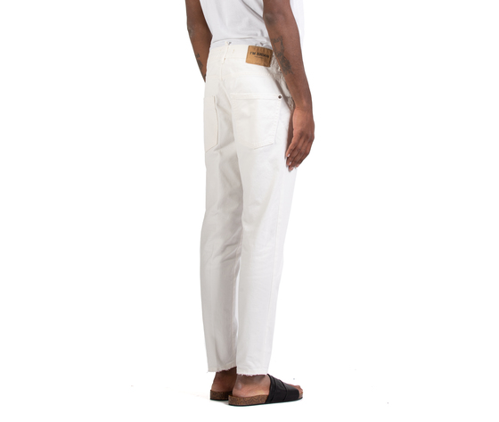 Jeans uomo slim fit  denim bianco in cotone i'mbrian made in italy art. alancl1608 %283%29