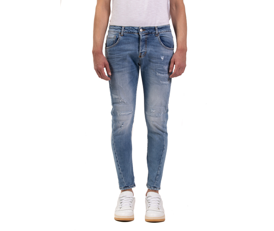 Jeans uomo slim fit  denim con rotture in cotone i'mbrian made in italy art. paull1609 %282%29