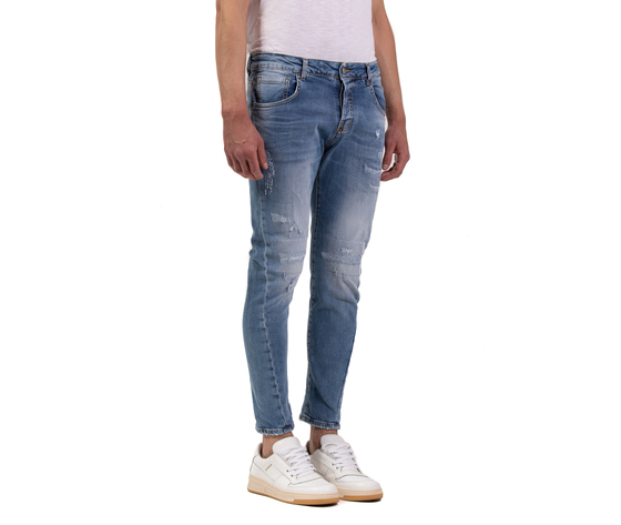 Jeans uomo slim fit  denim con rotture in cotone i'mbrian made in italy art. paull1609 %283%29
