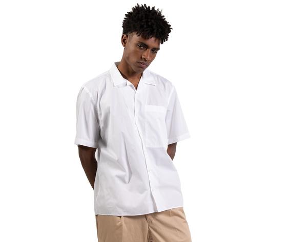 Camicia bianca maniche corte con tasconi frontali i'mbrian boxy fit cotone bianco art. ca1739 %281%29