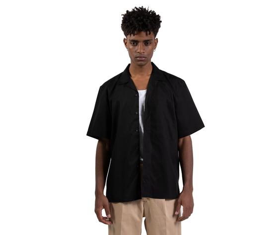 Camicia nera maniche corte con tasconi frontali i'mbrian boxy fit cotone nero art. ca1739 %282%29