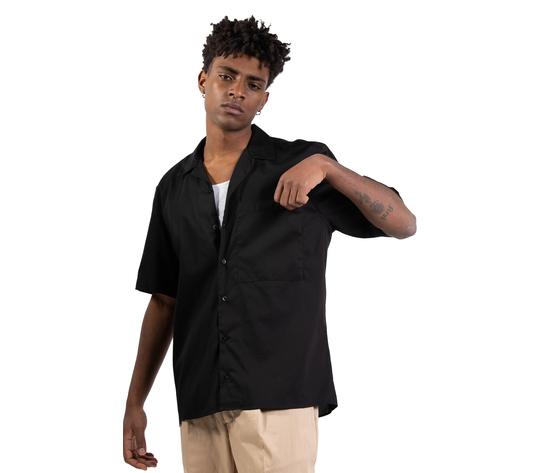 Camicia nera maniche corte con tasconi frontali i'mbrian boxy fit cotone nero art. ca1739 %283%29