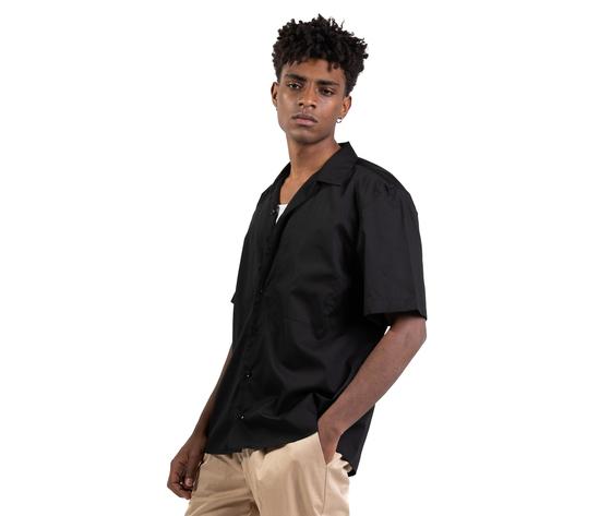 Camicia nera maniche corte con tasconi frontali i'mbrian boxy fit cotone nero art. ca1739 %281%29