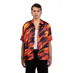 Camicia maniche corte Fantasia  Flame Rosso Nero Giallo Arancio Uomo in viscosa I'mBrian art. CA1735