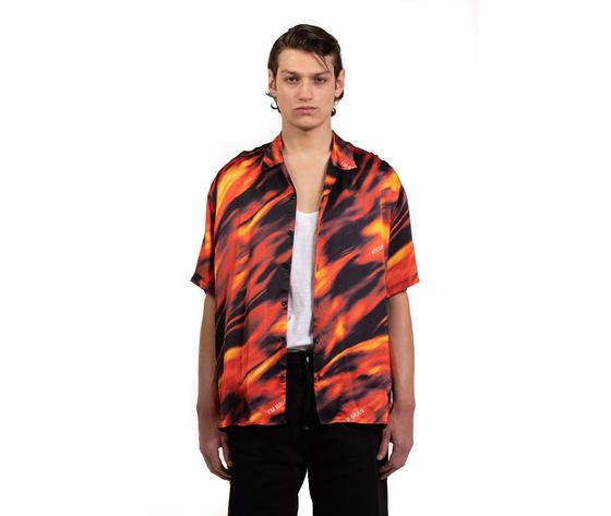 Camicia fantasia flame uomo con maniche corte collo cuba i'm brian 100  viscosa art. ca1735