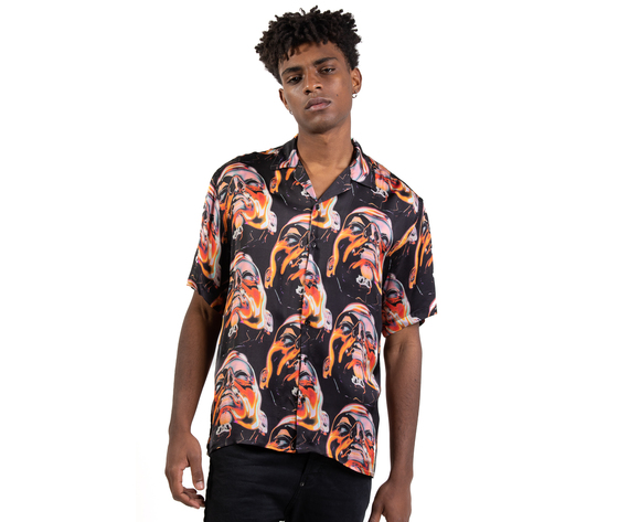 Camicia maniche corte fantasia  face fondo nero giallo arancio uomo in viscosa i'mbrian art. ca1736 %281%29