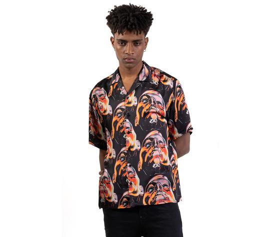 Camicia maniche corte fantasia  face fondo nero giallo arancio uomo in viscosa i'mbrian art. ca1736 %282%29