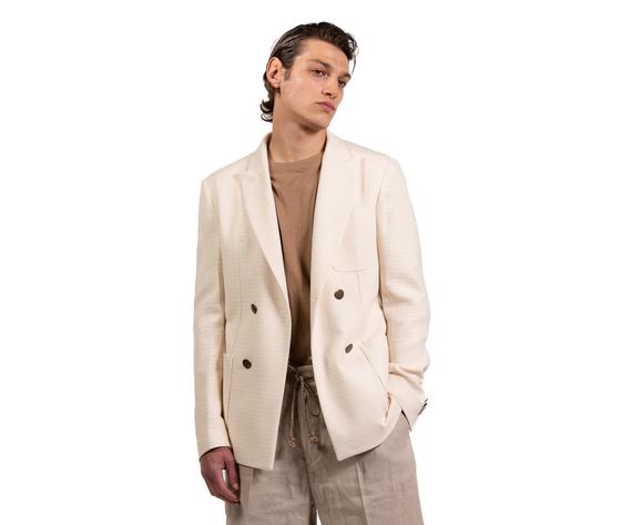 Giacca doppiopetto uomo bianca off white bianco latte tasche a toppa i'mbrian cotone art. gia1655 %283%29