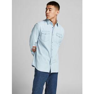 Camicia In Jeans chiaro Uomo Con Tasche Frontali Denim Chiaro Light Jack & Jones art. 12138115