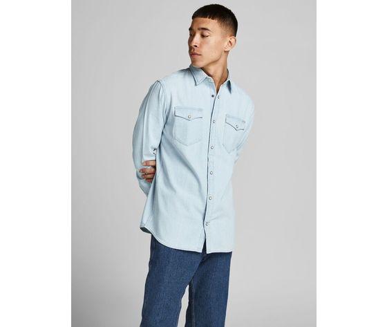 Camicia in jeans chiaro uomo con tasche frontali denim chiaro light jack   jones art. 12138115  %282%29