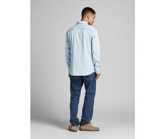 Camicia in jeans chiaro uomo con tasche frontali denim chiaro light jack   jones art. 12138115  %283%29