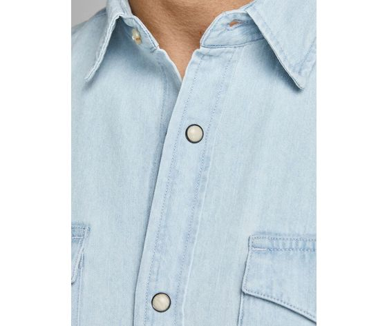 Camicia in jeans chiaro uomo con tasche frontali denim chiaro light jack   jones art. 12138115  %284%29