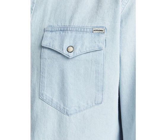 Camicia in jeans chiaro uomo con tasche frontali denim chiaro light jack   jones art. 12138115  %285%29