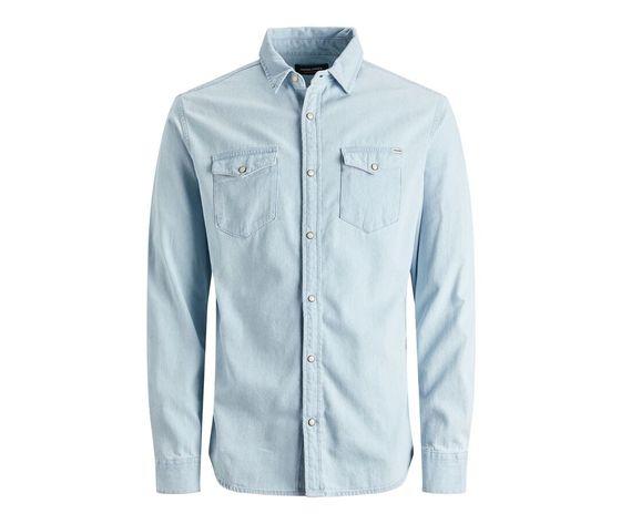 Camicia in jeans chiaro uomo con tasche frontali denim chiaro light jack   jones art. 12138115  %281%29