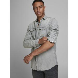 Camicia In Jeans Grigio chiaro Uomo Con Tasche Frontali Denim Grigio Light Grey Jack & Jones art. 12138115