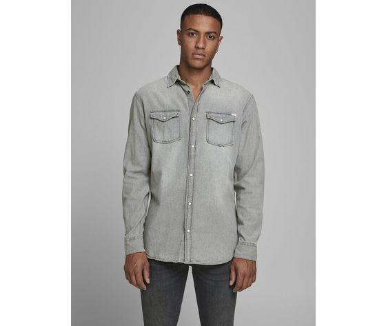Camicia in jeans grigio chiaro uomo con tasche frontali denim grigio light grey jack   jones art. 12138115 %281%29