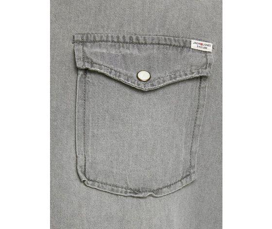 Camicia in jeans grigio chiaro uomo con tasche frontali denim grigio light grey jack   jones art. 12138115 %284%29