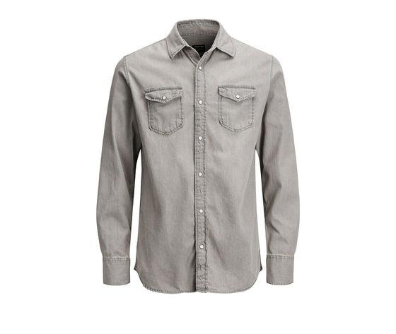 Camicia in jeans grigio chiaro uomo con tasche frontali denim grigio light grey jack   jones art. 12138115 %286%29