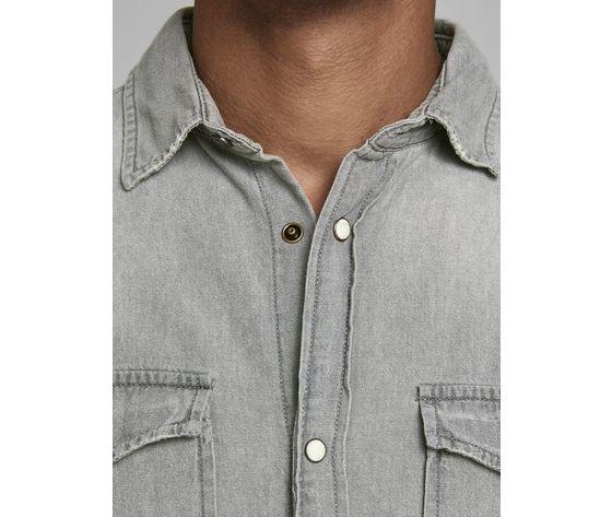 Camicia in jeans grigio chiaro uomo con tasche frontali denim grigio light grey jack   jones art. 12138115 %285%29