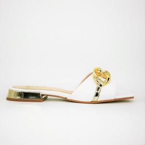 Ciabatte basse con catena Punta quadrata Donna Colbaffo® Bianche Tacco Oro Specchio Made in Italy art. 1020